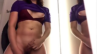 Fucking my pussy in the fitting room during shopping