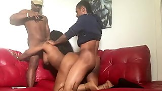 ebony cum slut with big titts drains two college frat boys Big black cocks