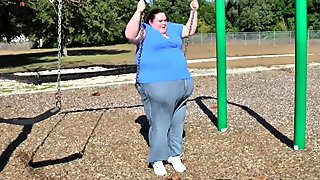 Fat SSBBW Walking, Tight Slides, Stuck & Swinging At The Park in Jeans