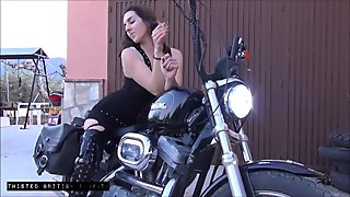 Biker Babe Smoking On Harley In PVC Thigh High Boots